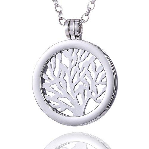 Morella Damen Halskette 70 cm Edelstahl und Anhänger mit Coin Wunderbaum Silber in Schmuckbeutel
