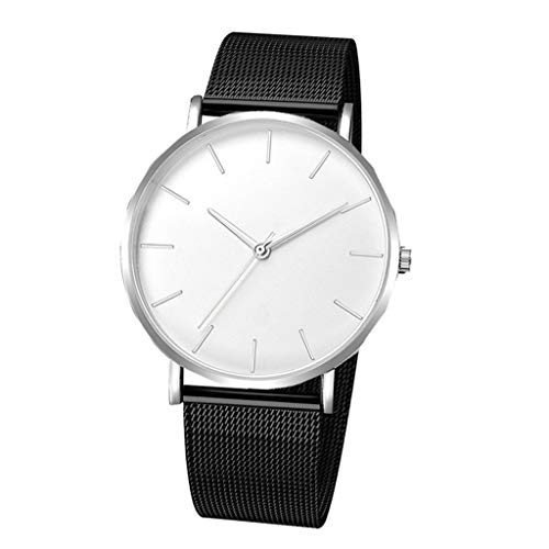 F Fityle Reloj de Cuarzo Causal Clásico para Hombre, Banda de Malla de Aleación, Reloj de Pulsera de 4 Cm, Regalo de Joyería - Banda Negra Cara Blanca