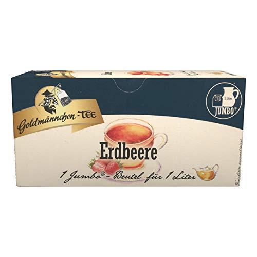 Goldmännchen Jumbo Tee Erdbeer-Sahne, Erdbeer-Sahnetee, Erdbeertee, 20 Teebeutel, Große Beutel, 31030