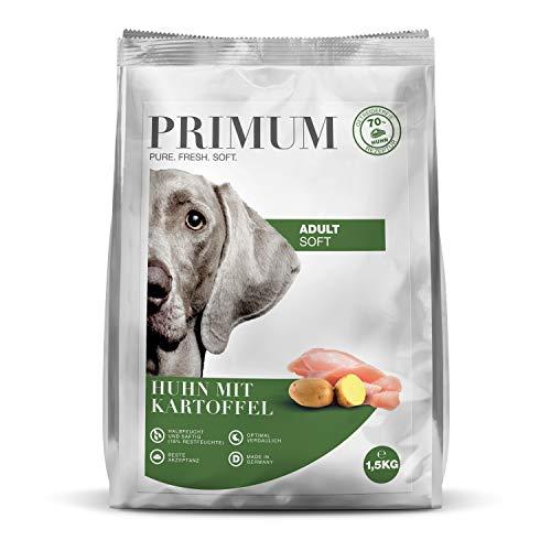 Primum | 1,5 kg | Halbfeuchtes Trockenfutter für Hunde | getreidefrei | Soft Huhn mit Kartoffel | Extra viel Fleisch | Optimal verdaulich | Herstellung in Deutschland