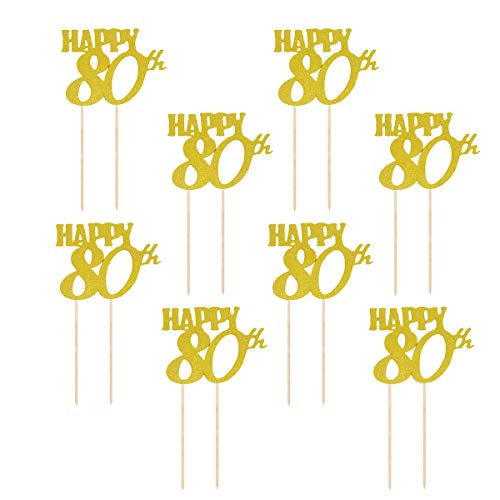 Amosfun Kuchen Topper Glitter Happy 80th Kuchendeckel 80. Geburtstag Kuchendekoration Party Zubehör 12 Stück (Golden)