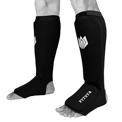 FitsT4 Kickboxing MMA Muay Thai Instep Padded Elastic Training Sparring Shin Guards Protector (1 Pair) S