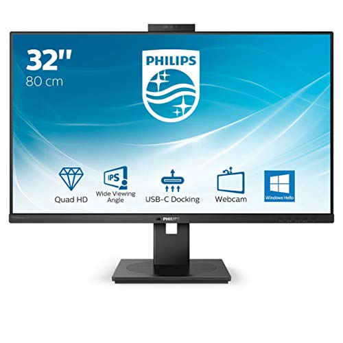 Philips 326P1H 80 cm (32 Zoll) Monitor (HDMI, Displayport, USB Docking, USB Hub, 2560x1440 Pixel, 75 Hz, FreeSync, Webcam, 4 ms Reaktionszeit) schwarz