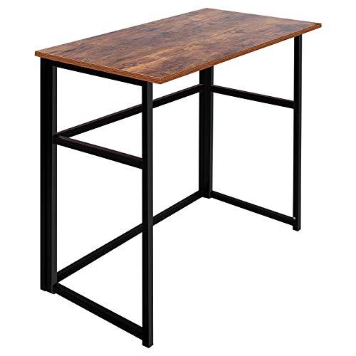 Folding Table ErgoDesign FoldinHalf Computer Desk Rectangle Laptop Table for Small SpacesFoldingRustic Brown