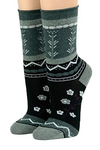 CRÖNERT Socken Longsocks mit Rollrand Design Laura 18420 (35/38, schwarz 2600)