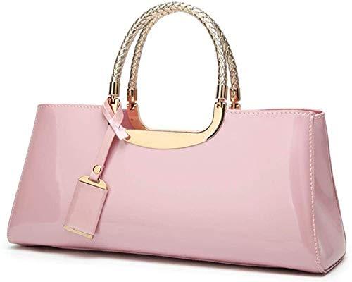 HGA Damenhandtaschen Damen Retro Top-Griff Taschen Leder Tragetasche Umhängetasche Umhängetasche Für Den Täglichen Gebrauch Am Abend,Pink