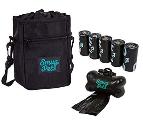 SmugPets - Bolso para recompensas caninas - con 75 Bolsas para excrementos y dispensador - Negro