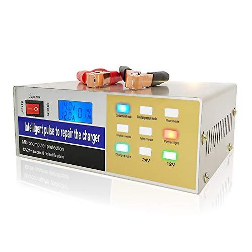 RSGK Cargador de batería de 12V / 24V, protección Inteligente para la reparación de impulsos, Adecuado para la batería de Agua de 60AH-400AH de Capacidad, batería Seca, batería sin Mantenimiento
