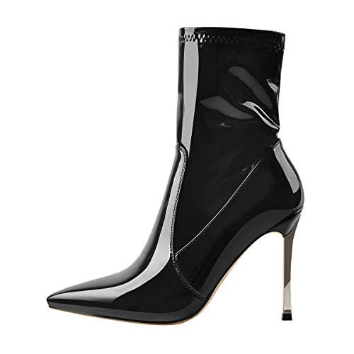 Only maker Damen Elegante Kurzschaft Stiefel Stilettos in Lack-Optik Schwarz EU 42