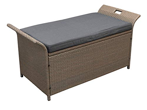 Funktions Kissenbox TRENTO 124cm, nutzbar als 2-er Sitzbank, Rattan naturgrau, mit Sitzpolster dunkelgrau