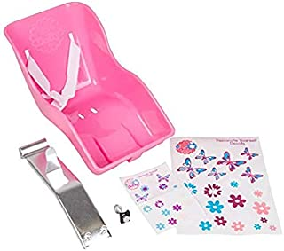 Best Ride Along Dolly Doll Bike Seat with Decorate Yourself Decals (Fits American Girl and Standard Sized Dolls and Stuffed Animals) Pink Review