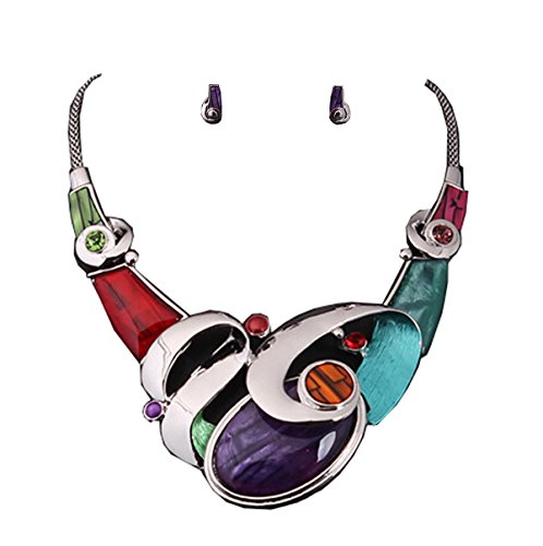 Halskette Bib Design Haute Couture Galets bunten Ohrringen und Swarovski-Kristallen