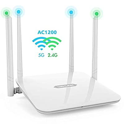 WAVLINK 1200Mbps High Power Long Range Wireless Wi-Fi Router AC1200 Dual Band 5Ghz+2.4Ghz Smart WiFi Router High Speed WiFi Box with High Power Amplifiers PA+LNA, 2 x 2 MIMO 5dBi Antennas
