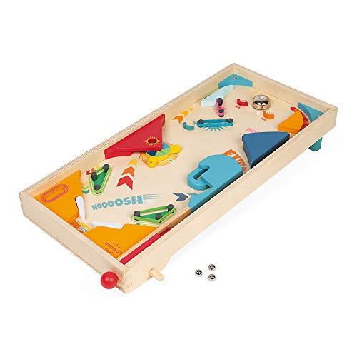 Janod - Pinball de Madera Retro - Juego de Mesa Infantil - Juego de Habilidad - Desarrolla la Estrategia y la Concentración - Certificado FSC® - A partir de 5Años, J02088