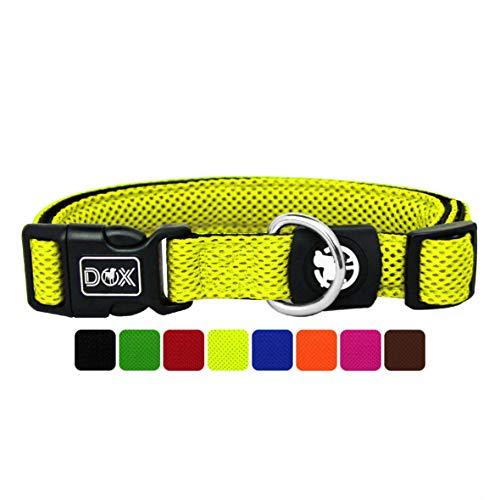 DDOXX Hundehalsband Air Mesh, verstellbar, gepolstert | viele Farben | für kleine & große Hunde | Halsband Hund Katze Welpe | Hunde-Halsbänder | Katzen-Halsband Welpen-Halsband klein | Gelb, XS