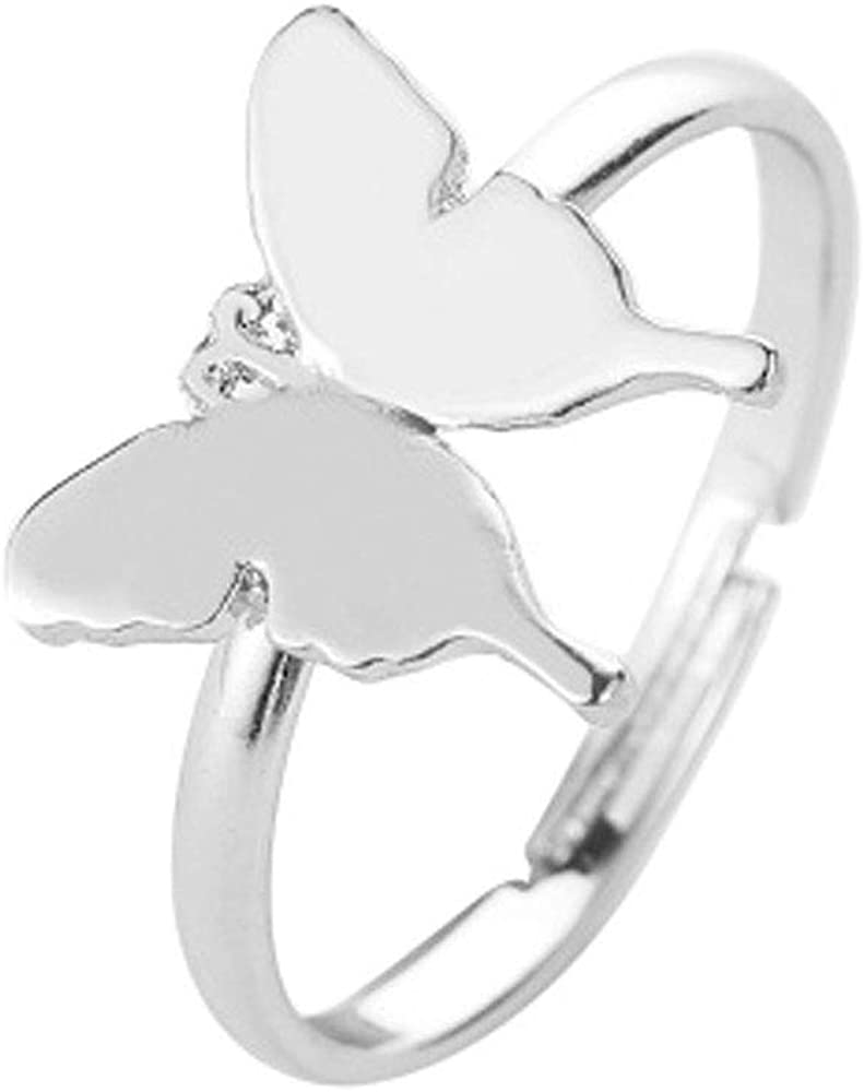 shanzuofeng New Classic Metal Butterfly Ring Fashion Retro Open Ring Jewelry
