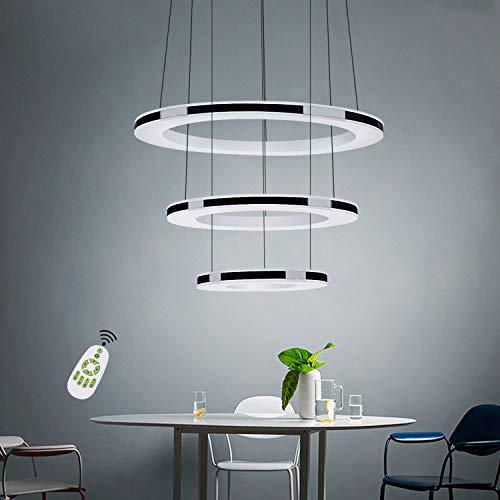 ZMH Moderne LED Pendelleuchte esstisch 55W Led 3-Ring led dimmbar Fernbedienung Hängeleuchte Wohnzimmer Deckenleuchte Schlafzimmer Höhenverstehbar Hängelampe Kronleuchter