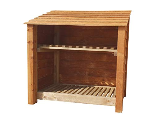 Wooden Log Store With Kindling Shelf 4Ft Brown (1.2 cubic meters capacity) (W-119cm, H-126cm, D-81cm)