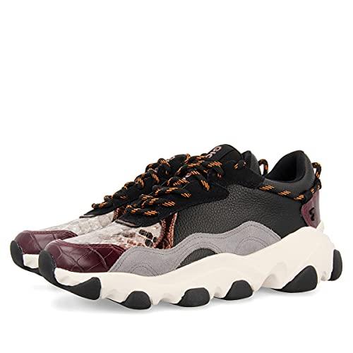 Sneakers Burdeos con Diferentes Texturas Estilo Chunky para Mujer Perm