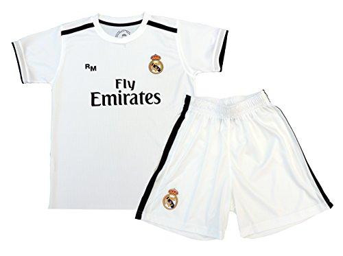 Real Madrid - Kit Infantil Real Madrid Réplica Oficial Licenciado de la 1ª Equipación Temporada 2018-19 Sin Dorsal. TALLA 14 AÑOS.