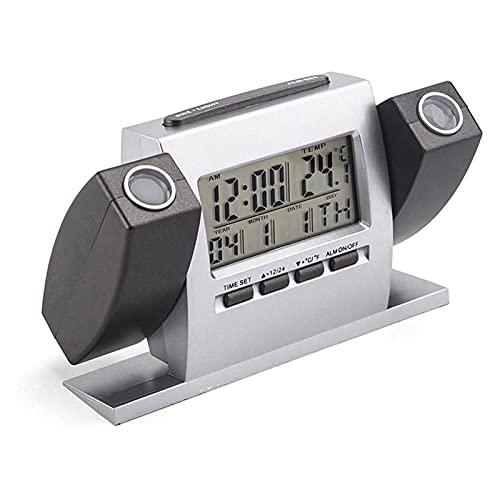 SFLRW Reloj de alarma digital de proyección para dormitorios, reloj despertador de radio con proyección en techo, alarmas duales, USB Puerto de cargador, pantalla de temperatura y humedad, espejo gran