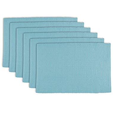 DII 100% Cotton, Ribbed 13 x 19 Everyday Basic Placemat Set of 6, Light Blue