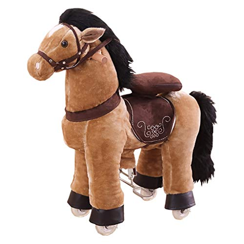 Riding Toys 27.6 inch Ride on Horse Toy Plush Walking Animal Brown Horse with Black Mane and Tail, No Battery No Electricity Mechanical Pony, Unique Rocking Horse Giddy up, Go Go, Unique Gift for Age