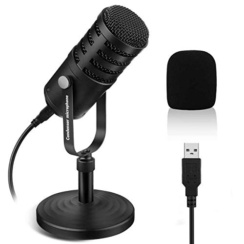 Professional USB Condenser Microphone, NASUM Recording Microphone, Desktop Computer Mic for Podcasting, Chatting, Voice Over, Gaming, Streaming, Interview, Conference Call