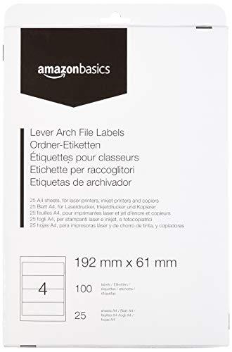 AmazonBasics - Selbstklebende Aktenordner-Etiketten, 192 mm x 61 mm, 25 Bögen, 4 Etiketten pro Bogen, 100 Etiketten