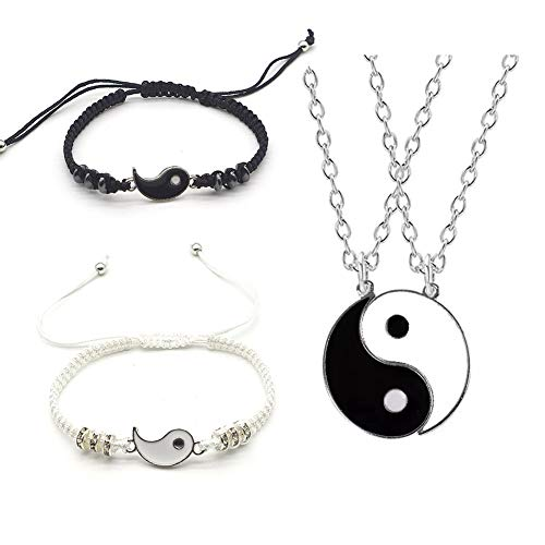 NineJewelry Yin Yang Tai Chi Matching Couple Bracelets Necklaces Set Adjustable Handmade Cord Relationship Bracelets & Necklace for Friendship Boyfriend Girlfriend, 4 Pieces Sets