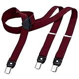 DonDon tirantes estrechos 2,5 cm para hombres con 3x clips en forma de Y - elástico y longitud ajustable - rojo oscuro