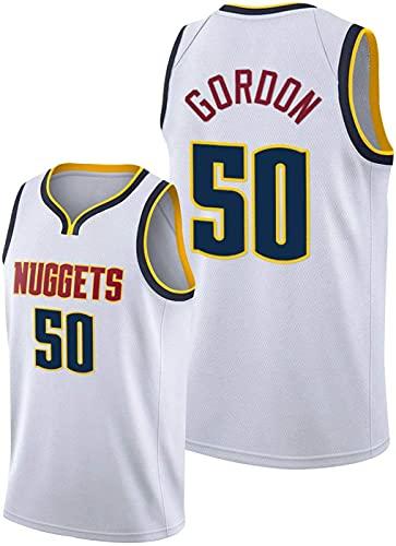 ZMIN Camisetas de la NBA del Baloncesto de los Hombres - Nuggets de Denver # 50 Gordon Malla Jersey Unisex Vest Mayas Sportwear,Blanco,L 175~180cm