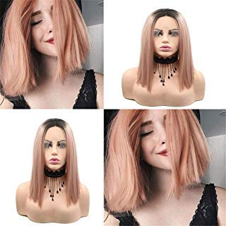 Sylvia Peach Outlet sale feature Pink Short Straight Bob Black with Max 78% OFF Roots Hairs 14in