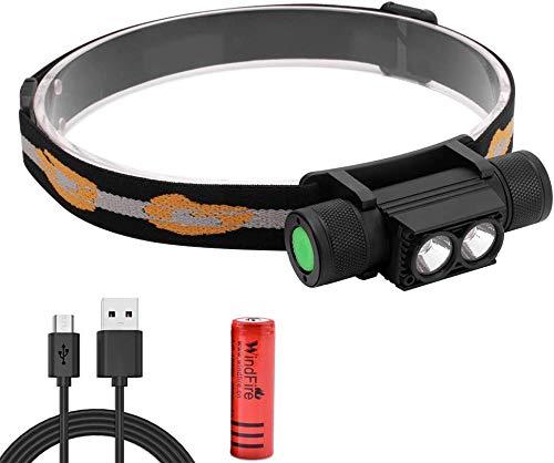 Linterna Frontal LED USB Recargable Lámpara de Cabeza 1200 Lúmenes, 6 Modos de Luz Faro Extraíble, IPX4 Impermeable pare Nocturno, Camping, Pesca, Ciclismo