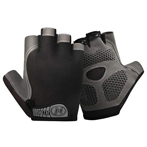 Qinghengyong 1 Paar Sportrutschfeste Handschuhe Breath Stoß- Anti-Rutsch Anti-Rutsch-Fahrradhandschuhe Fitness Radsport-Trainings-Handschuhe, Schwarz, L