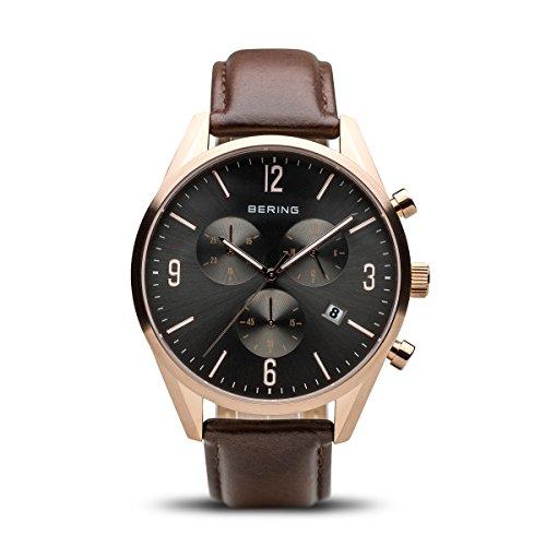BERING Herren-Armbanduhr Analog Quarz Leder 10542-562