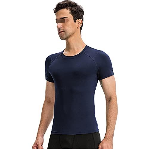 Shirt Hombre Manga Corta Cuello Redondo Color Sólido Camiseta Hombre Fitness Correr Entrenamiento Camisa Deportiva Hombre Ligero Transpirable Secado Rápido Camisa Funcional Hombre