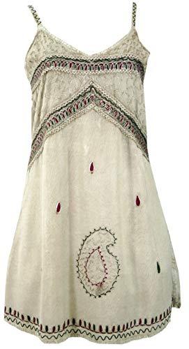 Guru-Shop Besticktes Indisches Kleid, Boho Minikleid, Damen, Beige Design 1, Synthetisch, Size:40, Kurze Kleider Alternative Bekleidung