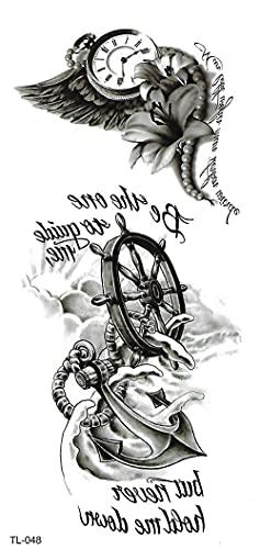 Lote De Tatuajes Temporales De Moda Tatuajes Temporales A Prueba De Agua Para Hombres Mujeres Pegatinas Para Adultos Y Arte Corporal Relojes Negros Instrumentos Musicales Flores 19X9cm-5Pcs