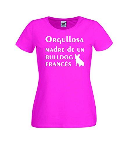 Camisetas divertidas Child Orgullosa Madre de un Bulldog Frances - para Mujer Camisetas Talla Medium Color Rosa Fucsia