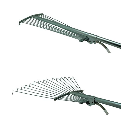 115-155cm Fächerbesen mit langem Stiel, Laubbesen, Gartenrechen, Gartenbesen, Laubrechen mit Arbeitsbreite von 18 bis 60 cm