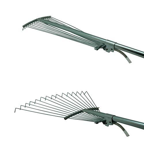 Fächerbesen | 115-155cm Laubbesen | Gartenrechen | Gartenbesen | Laubrechen mit verstellbarem Stiel