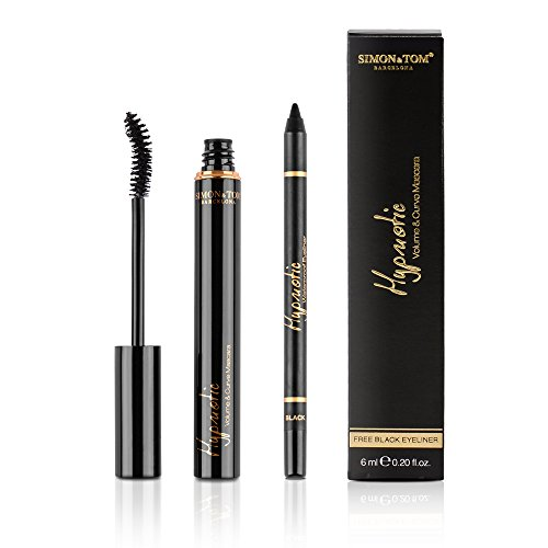 Simon & Tom Hypnotic Mascara Volume & Krul, waterproof zwarte mascara voor dramatisch volume + gratis zwarte eyeliner, 7 ml.
