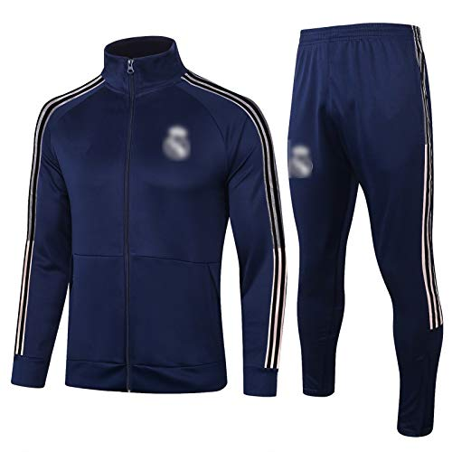 BVNGH Real Madrid - Traje de entrenamiento para hombre, manga larga, tejido transpirable y de secado rápido (S-XXL), color azul
