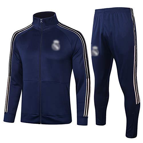 BVNGH Real Madrid - Traje de entrenamiento de camiseta de fútbol de manga larga para hombre, tejido transpirable y de secado rápido (S-XXL), color azul