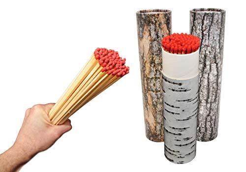 603110WU, 2 x 75 Stück (=150) XXL Maxi Grill und Kamin Streichhölzer, 20 cm, in Baumrindendesign Verpackung, rote Köpfe, Grillstreichhölzer Kaminstreichhölzer, Jumbostreichhölzer