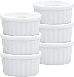 HIC Mini Butter Crock Ramekins, Fine White Porcelain, 2-Inch, 1-Ounce Capacity, Set of 6