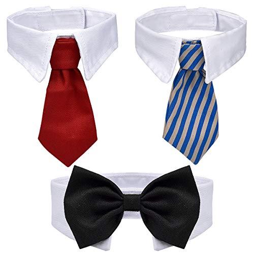 Dokpav 3 Stück Haustier Hunde Katzen Fliege, Justierbare Haustier Kostüm Krawatte Kragen für Kleine Hunde Welpen Pflegen Zusätze