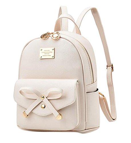 Baymate Damen Vintage PU Leder Rucksack Schultasche Daypacks Outdoor Umhängetasch Weiß
