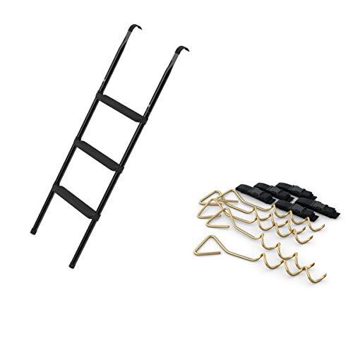 Ampel 24 Deluxe Trampolin Leiter 110 cm lang mit 3 Breiten Stufen & 5 Erdanker zum Eindrehen mit verstellbarem Gurt zur Sicherung bei Wind
